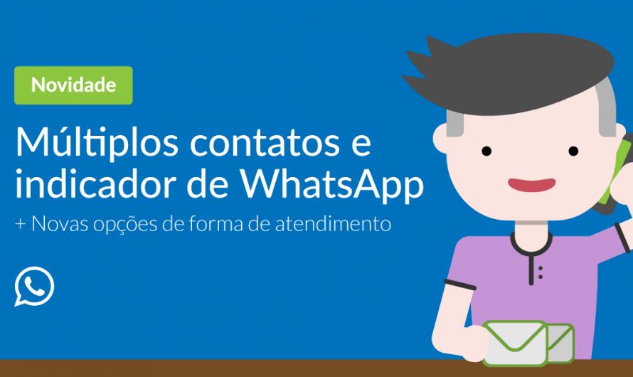 Múltiplos contatos e indicador de WhatsApp