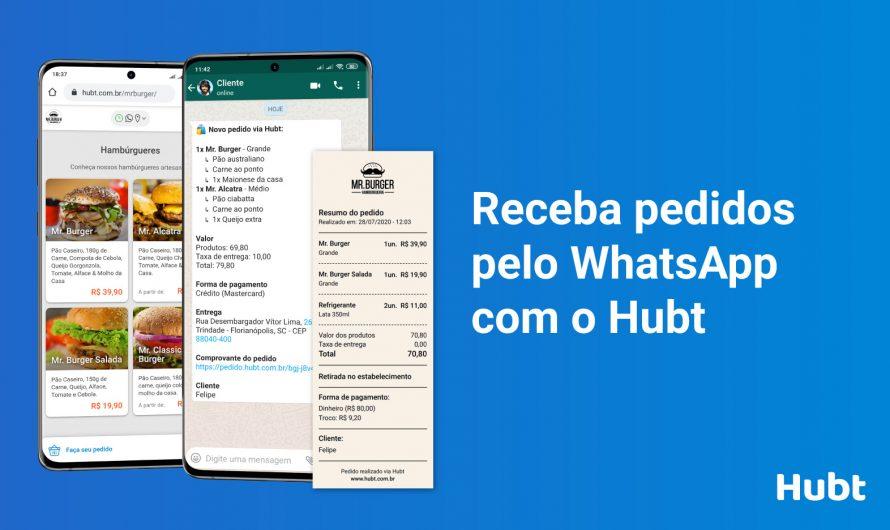 Receba pedidos pelo WhatsApp com o Hubt